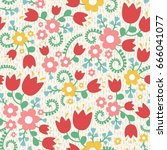 bright seamless pattern with... | Shutterstock .eps vector #666041077
