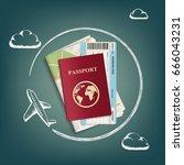 plane flies around passport... | Shutterstock .eps vector #666043231