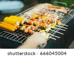 bbq and sausage with beverages... | Shutterstock . vector #666045004