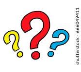 three question mark   cartoon... | Shutterstock .eps vector #666049411