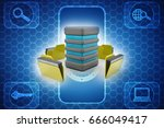 3d illustration of data sharing ... | Shutterstock . vector #666049417
