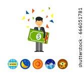 guy holding dollars icon | Shutterstock .eps vector #666051781