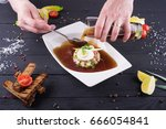 okroshka with kvass on a dark... | Shutterstock . vector #666054841