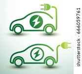 electric car concept green... | Shutterstock .eps vector #666059761