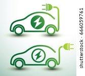 electric car concept green...   Shutterstock .eps vector #666059761