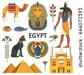 egypt icons set. vector...