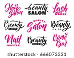 logo beauty salon lettering set.... | Shutterstock .eps vector #666073231