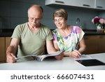 family elderly couple in the... | Shutterstock . vector #666074431