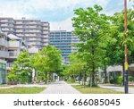 quiet residential area in tokyo ... | Shutterstock . vector #666085045