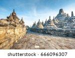 stupa in borobudur  ancient...   Shutterstock . vector #666096307