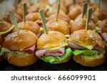 homemade hamburger with bacon ... | Shutterstock . vector #666099901