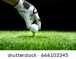hand ware leather glove putting ... | Shutterstock . vector #666103345
