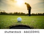 golfer putting golf ball on the ... | Shutterstock . vector #666103441
