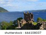 loch ness and urquhart castle... | Shutterstock . vector #666108037