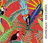 tropical bird toucan in the... | Shutterstock .eps vector #666114001