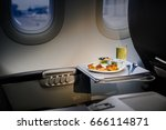 lunch in a plane ... | Shutterstock . vector #666114871