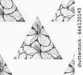 seamless pattern of a triangle... | Shutterstock . vector #666120145