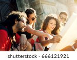 multiracial couples exploring... | Shutterstock . vector #666121921