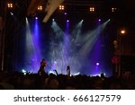 rock concert on a square... | Shutterstock . vector #666127579