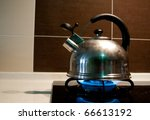 Model kettle boiling. Boil the water for using in your food. - stock photo