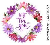 wildflower kosmeya flower frame ... | Shutterstock . vector #666140725