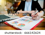businesswoman hand working with ... | Shutterstock . vector #666142624