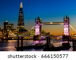 tower bridge and shard in... | Shutterstock . vector #666150577