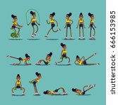 cool set of different exercise... | Shutterstock .eps vector #666153985