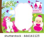 vector card template with cute... | Shutterstock .eps vector #666161125