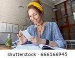 happy student girl with... | Shutterstock . vector #666166945