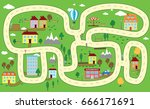 lovely city landscape car track.... | Shutterstock .eps vector #666171691