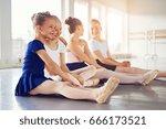 kids dancing ballet sitting on... | Shutterstock . vector #666173521
