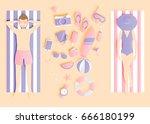 beach things paper art style... | Shutterstock .eps vector #666180199