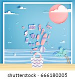 beach things paper art style... | Shutterstock .eps vector #666180205