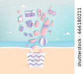 beach things paper art style... | Shutterstock .eps vector #666180211