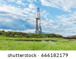 land oil drilling rig blue sky | Shutterstock . vector #666182179