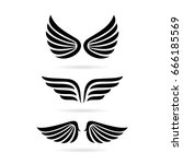 wings vector icon set on white... | Shutterstock .eps vector #666185569