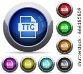 ttc file format icons in round... | Shutterstock .eps vector #666185809