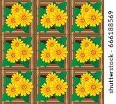 golden button flowers  on brown ... | Shutterstock .eps vector #666188569