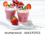 refreshing strawberry milkshake ...   Shutterstock . vector #666192931