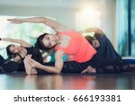 group of yoga exercise and... | Shutterstock . vector #666193381