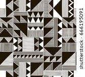 black and white vector seamless ... | Shutterstock .eps vector #666195091