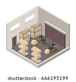 isometric warehouse interior of ... | Shutterstock .eps vector #666195199