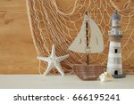 nautical concept with sea life... | Shutterstock . vector #666195241