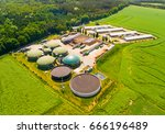 aerial view over biogas plant... | Shutterstock . vector #666196489