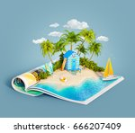 beach hut at tropical jungle on ... | Shutterstock . vector #666207409