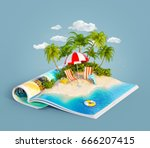 deck chairs under the beach... | Shutterstock . vector #666207415