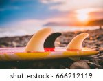 surfboard on a beach with... | Shutterstock . vector #666212119