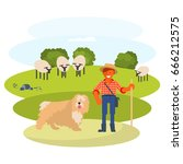 young man cattleman with his... | Shutterstock .eps vector #666212575