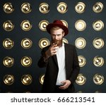 handsome young redhaired... | Shutterstock . vector #666213541